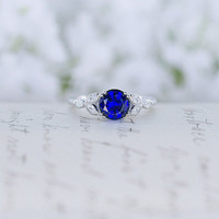 Blue Sapphire Engagement Ring - Art Deco Ring - Vintage Style Ring -  CZ Ring - Solitaire Ring - Round Cut Ring - Sterling Silver