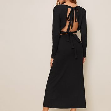 Open Back Knotted Rib-knit Top & Maxi Skirt