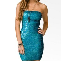 Iridescent Sequined Tube Dress