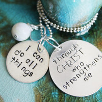 Bible Verse Necklace, Philippians 4 13, Hand Stamped Silver Jewelry