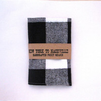 Pocket Square Handcrafted Black and White Buffalo Plaid Flannel Reclaimd The Kit Carson-