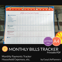 MONTHLY BILLS TRACKER pdf. A4. Letter Size. Bills Planner. Bill Payments Financial Worksheet. Family Budgeting. Instant download. Multicolor