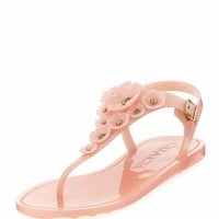 Coach Tea Rose Jelly Flat Sandal, Peony