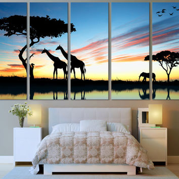 Africa Wall Art Animal Art Canvas Print / African Giraffe Print Wall Art Hanging / Nursery Art Print African Décor Fine Art Canvas Print