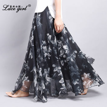 New Women Skirts Chiffon Pleated Skirt Beach Print long Skirt Europe Americas 2016 New Summer Skirts 3 Size Maxi Skirt