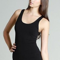 Basic White Jersey Tank - Black
