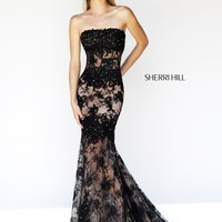 Sherri Hill 11084 Lace Mermaid Prom Dress