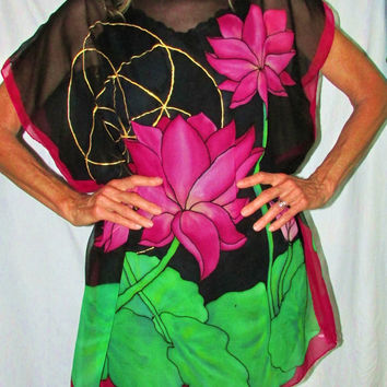 silk tunic,Lotus Goddess, pink lotus top,oversize top,resort wear,beach wear, goddess wear,  seed of life, festival wear, boho