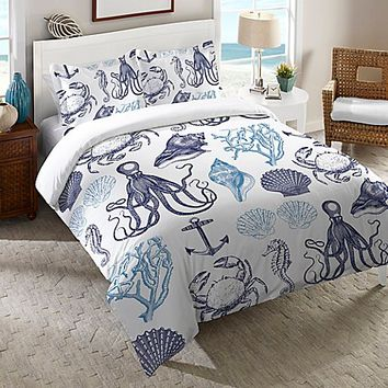 Laural Home® Navy Coastal Creatures Duvet Cover in Blue