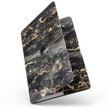"""Black and Gold Marble Surface - 13"""" MacBook Pro without Touch Bar Skin Kit"""