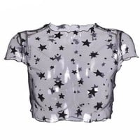 Star Print Mesh Short Sleeve Sheer Crop Top