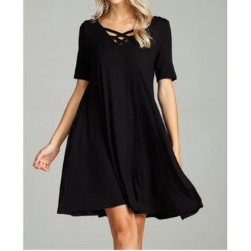 Elevate Your Spirit- Criss Cross Front Swing Dress