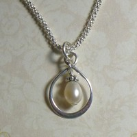 Infinity with a Pearl Sterling Silver Necklace