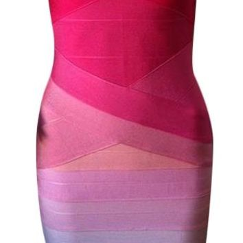 Fuchsia Pink White Strapless Gradient Ombre Bandage Bodycon Dress