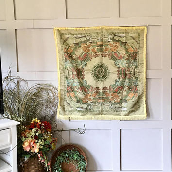Chinese Silk Piano Scarf, Asian Embroidered Tablecloth, Fringed Wall Tapestry