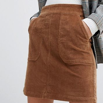 Warehouse cord a-line mini skirt in tan at asos.com