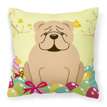 Easter Eggs English Bulldog Fawn Fabric Decorative Pillow BB6124PW1414