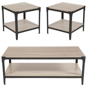 Northvale Collection 3 Piece Coffee and End Table Set in Sonoma Oak Wood Finish and Black Metal Legs