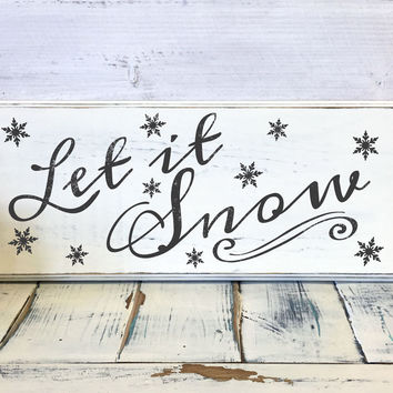 Christmas Home Decor, Let it snow, Wood Sign, Vintage, Shabby Chic Christmas Decor, Decorations, Holidays Decor