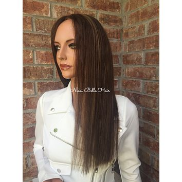 Dark Brown Balayage Remy Human Hair Full Lace Wig - Helena