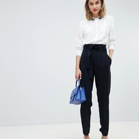 Mango paper bag waist tapered PANTS at asos.com