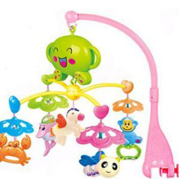 Baby Mobile Musical  Bed Bell 0-1 Year Old Newborn Toy 3-6-12 Months Rotating Music Bed Hanging Baby Rattle Crib Mobile Holder