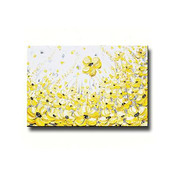 GICLEE PRINT Art Yellow Grey Abstract Painting Modern Coastal Canvas Prints Gold White Wall Decor