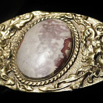 Vintage ODEN Ladies Belt Buckle Solid Brass Jasper Gemstone Cowgirl Belt Buckle Southwestern Western Fashion Early Oden Belt Buckle Unisex