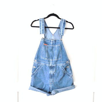 vintage IKEDA overalls shorts / light wash denim 90s GRUNGE dungarees