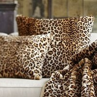 Faux Fur Pillow Cover - Brown Cheetah