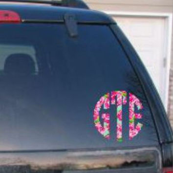 Lilly Pulitzer Inspired Car Decal Lily Preppy Decal Phone Decal laptop Decal Monogrammed Personalized  Monogram Sticker Impression Rose