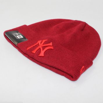 NewYorkYankees Fashion Winter Purple Color Embroidery Men And Women Couples Knitted Hats Red G