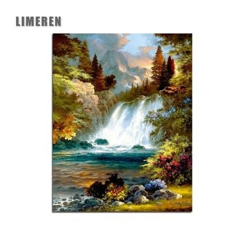Waterfall Landscape Oil Painting By Numbers Diy Picture Drawing On Canvas Oil Painting By Hand Coloring For Modern Home Wall Art