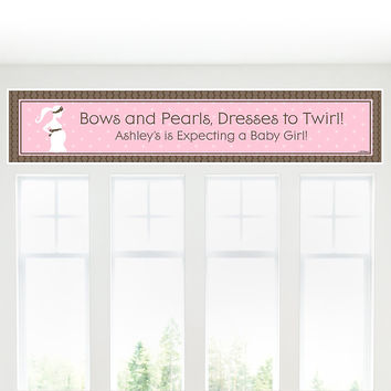 Baby Shower Banner - Mommy Silhouette It's A Girl