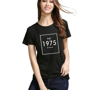 Women short sleeve letter print T shirt THE 1975 Cotton Casual Funny For Lady White Black Tops Tee