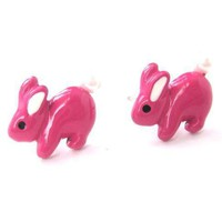 Fluffy Bunny Rabbit Animal Stud Earrings in Bright Pink | DOTOLY