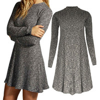 Long Sleeve Casual Sweater Dress