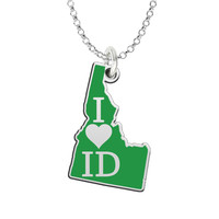 I Love Idaho Sterling Silver State Shape Necklace
