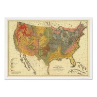 Geological Map Of USA 1872 Print from Zazzle.com