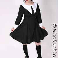 Gothic Lolita Dress Cute Lenore Black with White by MGDclothing
