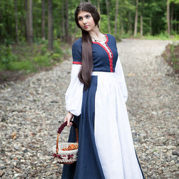 """Renaissance Womens Fantasy Costume """"Forget Me Not""""; Chemise Underdress with Dress, Apron and Chaperone"""
