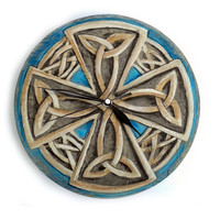 CELTIC Eternal Knot Wall CLOCK VIKING cross painting clock