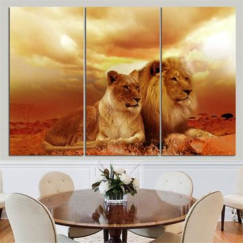 No Frame Animal Oil Painting Lion King Posters Wall Art and Prints Home Decor Mordern Canvas Pictures for Living Room 3 Pieces