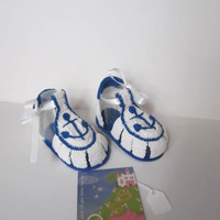 Boys Baby Sandals, Boys summer shoes, Crochet blue and white sandals, Crochet Baby Sandals, Nautical Baby Booties, Anchor Baby Booties