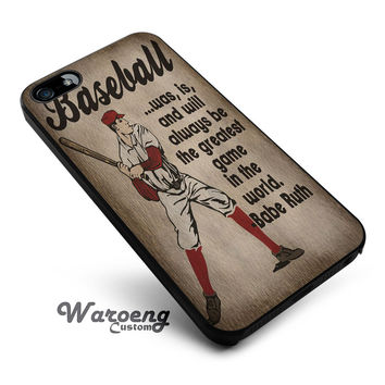 Vintage Baseball Art Babe Ruth Quote iPhone 4s iphone 5 iphone 5s iphone 6 case, Samsung s3 samsung s4 samsung s5 note 3 note 4 case, iPod 4 5 Case