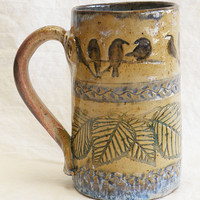Ceramic birds on branches coffee mug 16oz. stoneware 16C042