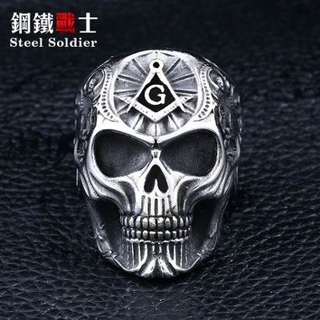 Steel soldier masonic ring for men punk rock skull Free-Mason ring jewelry display