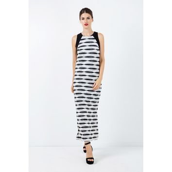 Black And White Round Neck Sleeveless Maxi Dress