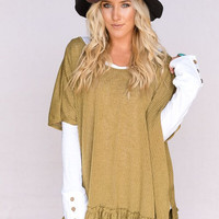 Oversized Tie Back Thermal Tunic In Olive
