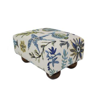 Ocean Life in Blue Nautical Upholstered Fabric Footstool Ottoman